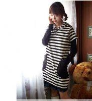 易购物商城 - WWW.E95.CN 兔耳朵长款条纹T恤 108290(白黑)